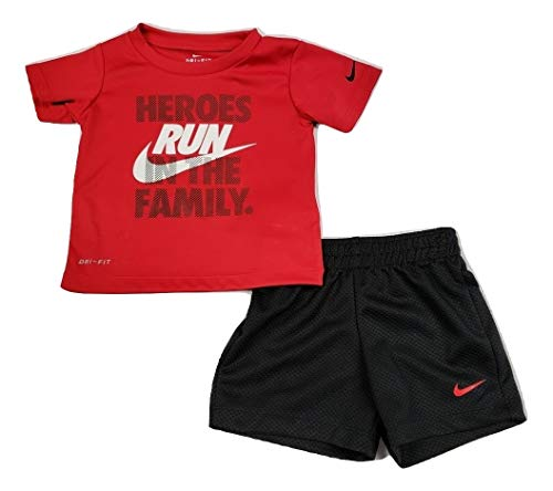 (Nike Toddler Boys Dri Fit Short Sleeve T-Shirt and Short 2 Piece Set (Black (66E906-203)/White, 12 Months))