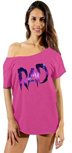 Awkwardstyles Women's RAD Galaxy Logo Off Shoulder Tops T-Shirt + Bookmark L Pink ()