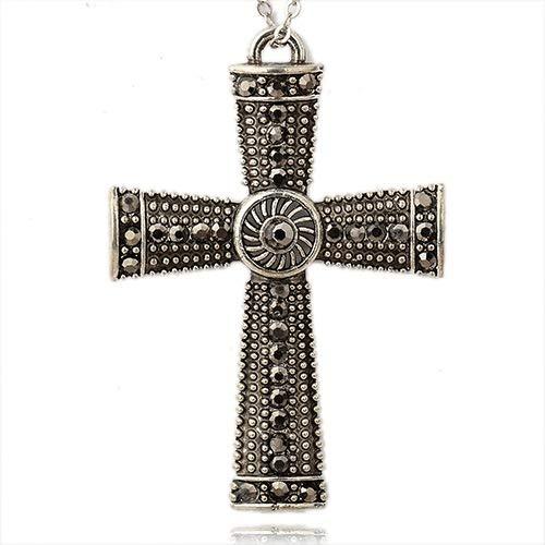 Beadthoven 2pcs Antique Silver + Hematite Alloy Rhinestone Cross Pendants Claddagh Cross Crucifix Crystal Charms for DIY Jewelry Making fit Necklace Bracelet Earrings Choker 86x59x7mm Hole: - Rhinestone Hematite Cross