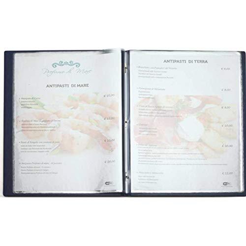 Porta men/ù in similpelle NERO a 2 ante e 8 tasche 23x32 per ristoranti e pub