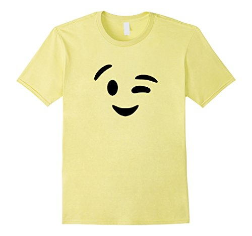 [Mens Cute Wink Emoji Face Halloween Costume T-Shirt XL Lemon] (Emoticon Wink Costumes)