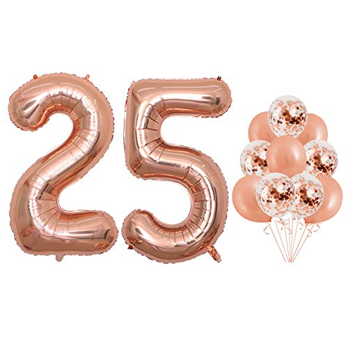 40 inch Jumbo Rose Gold 25th Foil Balloons Confetti Balloons for Birthday Party Supplies Anniversary Events Decorations and Graduation Decorations (Confetti25) ()