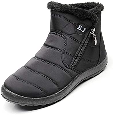dcb6567f01f DETAWIN Women Winter Short Snow Boots Slip On Flats Zip Round Toe Fur Lined  Warm Waterproof Mid-Calf Boot