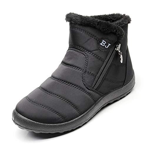 DETAWIN Women Winter Short Snow Boots Slip On Flats Zip Round Toe Fur Lined Warm Waterproof Mid-Calf Boot