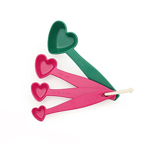 TP Romantic Series Heart Shaped Melamine Measuring Spoons 4-in-1 Gift Set, Multi Colors(Measuring Spoons, Hot Pink & Green)