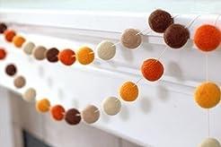 Felt Ball Garland- Brown and Orange- 1