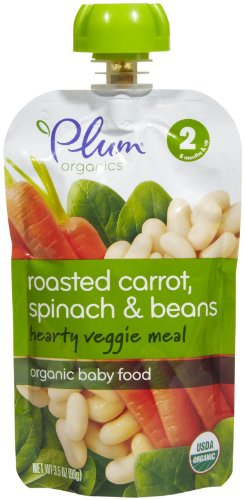 (Plum Organics Baby Second Blends Stage 2 Hearty Veggie Meal, Roasted Carrot, Spinach & Bean, 3.5 oz)