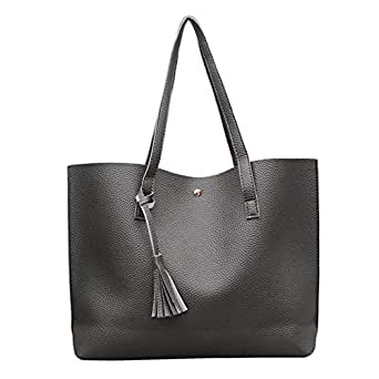 COODIO Women Concise Style Solid Color Tassel High Capacity Single Shoulder Bags Handbags Dark gray for Fashion Jewelry