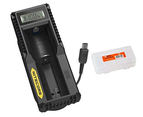 Nitecore UM10 Digital Universal Charger for 18650 17650 17670 RCR123A 16340 14500 and Lumen Tactical Battery Organizer