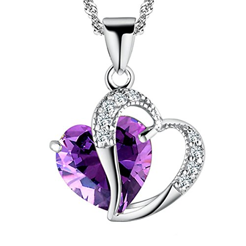 A Heart Full of Love [Purple] Sterling Silver Pendant Necklace (Pregnant Girl Costumes)