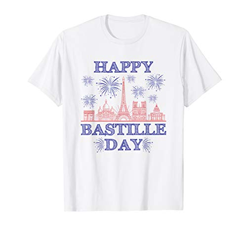 Bastille Day TShirt French Monuments Eiffel Tower Fireworks