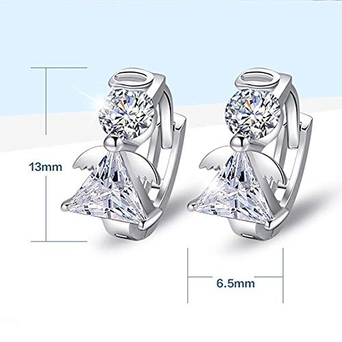 Girl Angle Gift Women New Platinum Plated Zircon Stud Hoop Earrings ()