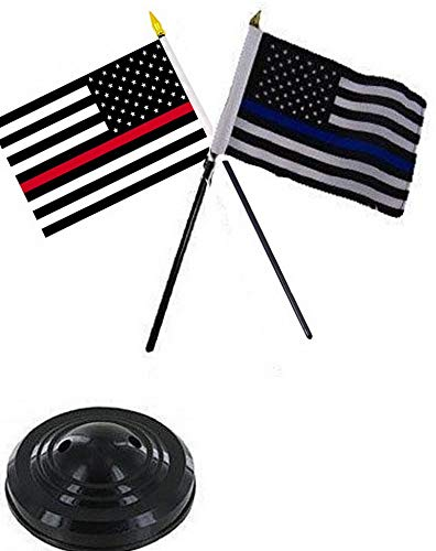 Hebel USA Thin Police Blue Fire Red Line 4x6 Flag Desk for sale  Delivered anywhere in USA