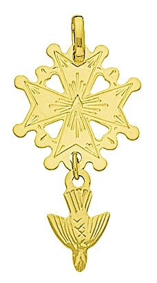 Hélios Bijoux - Pendentif Religion Croix Huguenote- Or Jaune 18 Carats - 1,10gr - Neuf