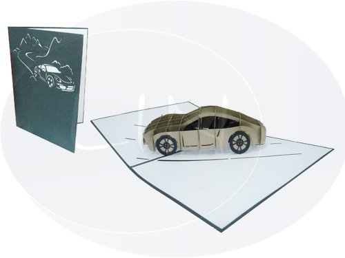 LIN - Pop Up 3D Greeting Card, Sports car, handmade, (#145) (Greeting Cars Cards)