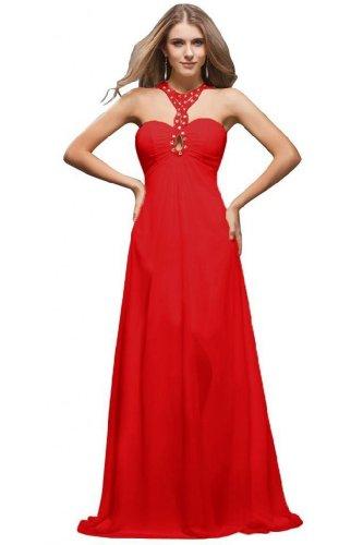 Red con arrivo collo Chiffon al da Sunvary Prom nuovo linea donna dietro allacciatura A xZwYO