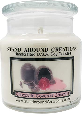 Premium 100% Soy Apothecary Candle - 16 oz. - Chocolate Covered Cherries: Sweet maraschino cherries smothered in milk chocolate, w/French vanilla.
