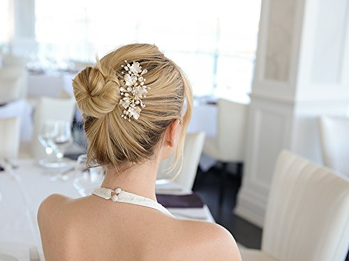 Mariell Couture Bridal Hair Comb with Hand Painted Gold Leaves, Freshwater Pearls and Crystals by Mariell (Image #4)