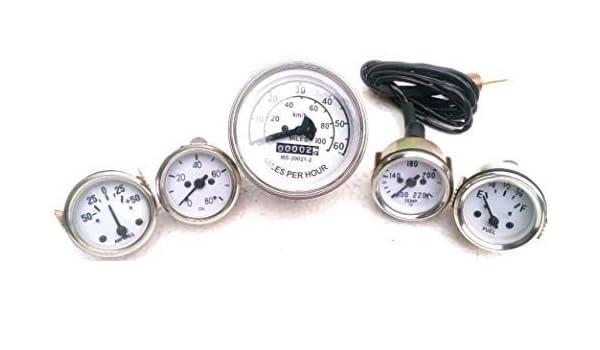 Willys MB Jeep Ford CJ GPW Gauges Kit Speedometer 60 mph Temp Oil Pressure Fuel Ampere