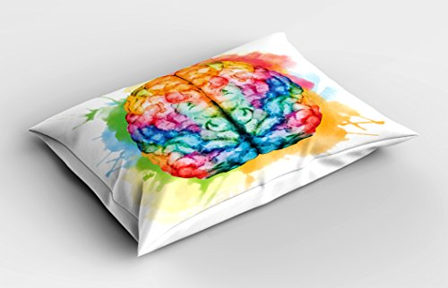 Ambesonne Watercolor Pillow Sham, Vibrant Colorful Human Brain Body Neurology Hemispheres Creative Intelligence, Decorative Standard Queen Size Printed Pillowcase, 30 X 20 Inches, Multicolor