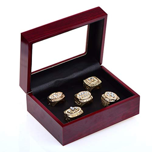 MT-Sports San Francisco 49ers Gold Championship Rings Full Set Replica Gift Collection Size 11 with Display Case