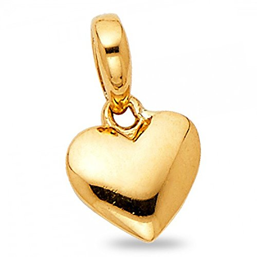 - Solid 14k Yellow Gold Tiny Puffed Heart Pendant Classic Love Charm Polished Small Cute 7 x 8 mm