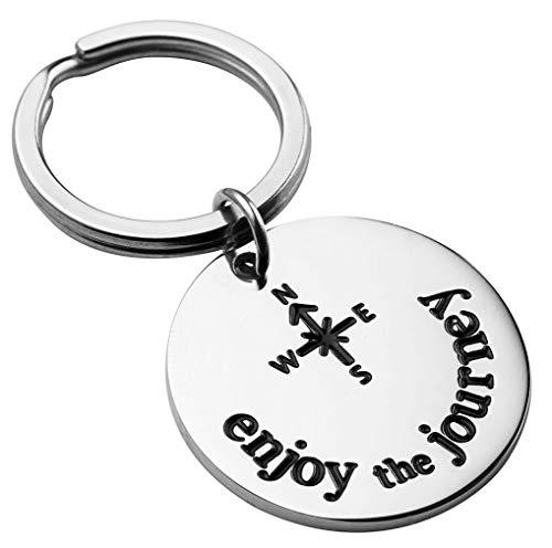 SANNYRA Enjoy The Journey Keychain Graduation Gift for Traveler Key Chain Inspirational Gift Retirement Jewelry