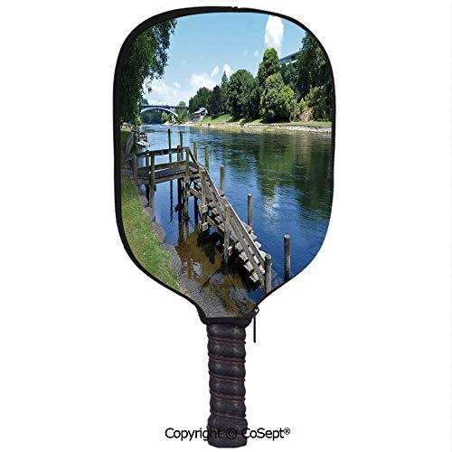 PUTIEN Neoprene Racket Set,Waikato River Hamilton City New Zealand Holiday Destination Travel Landmark,Protect Your Paddles from Scrapes & Dings(8.26x11.61 inch) Green Blue Grey]()