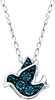 Finecraft Teeny Tiny Bird Pendant Necklace with Blue Diamonds