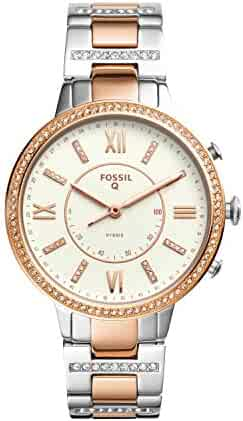 Fossil Q Women's Virginia Two-Tone Stainless Steel Hybrid Smartwatch, Color: Rose Gold-Tone, Silver-Tone (Model: FTW5011)
