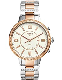 Q Women's Virginia Two-Tone Stainless Steel Hybrid Smartwatch, Color: Rose Gold-Tone, Silver-Tone (Model: FTW5011)