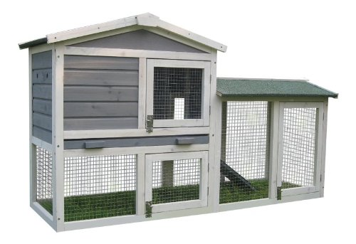 Grey BUNNY BUSINESS The Grove Grey Double Decker Rabbit  Guinea Pig Hutch and Run