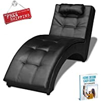 Indoor Chaise Lounge Chair Black Furniture Modern Large Reclining Lounge Living Room Bedroom Leather Artificial & eBook by AllTim3Shopping