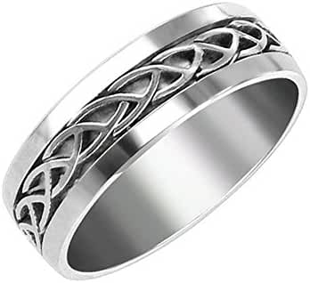 Celtic Ring Woven Knot Stainless Steel Wedding Band