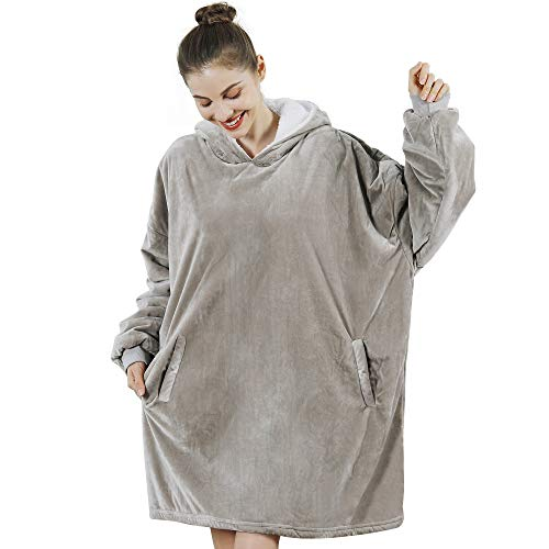 AmyHomie Blanket Sweatshirt, Oversized Sherpa Hooded Sweatshirt,Wearable Hoodie Blanket with Pocket for Adults & Kids & Teen