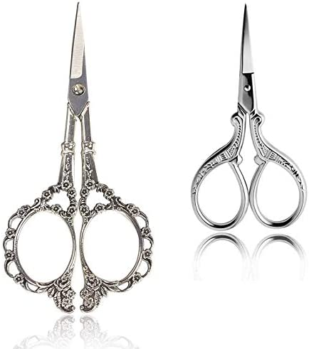 BIHRTC 2Pairs 3.6 Inch Embroidery Scissors and 4.5 Inch Vintage European Style Plum Blossom Scissors tainless Steel Sharp Cravd Scissors for Needlework Sewing Craft Art Work & Everyday Use