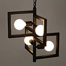Quietness @ Loft Art Chandeliers Creative Geometry Chandeliers Nordic Personality Hoist,420Mm*430Mm Pendant Lamp For Kids Bedroom Dinning Room Living Room Warehouse 110V-120V