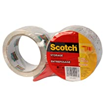Scotch Storage Packaging Tape with Dispenser, 48 mm x 50 m (Per Roll), 2 Rolls, (3610-2PKWD)