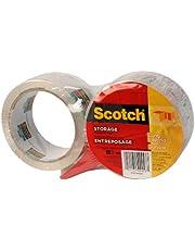 "Scotch Storage Packing Tape, 1.88"" x 50m, 2 Rolls with Dispenser"