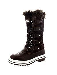 Womens Snow Boot Nylon Tall Winter Fur Lined Snow Warm Waterproof Rain Boot