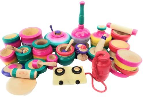mamu shop 30 pis cylinder and gas stove model kids kitchen set for girls big size-Multi color
