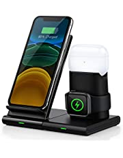 Wireless Charger, Abetcabe 3 in 1 Wireless Charger Station, fast Wireless Charging Stand Compatible with iPhone 12/12 mini /11/11 Pro/11 Pro Max/X/XS/XS Max/8, Airpods Pro/1/2, iWatch 5/4/3/2/1(No iWatch Cable and Adapter)