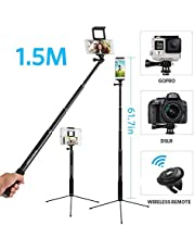 61 Inch Wireless Selfie Stick Tripod with Bluetooth 3.0 Remote , Moreslan 3 in 1 Phone Tripod with 360°Rotatable Phone Mount Extendable Monopod for for iPhone X 8 Plus 7 Plus 6S iPad Samsung Galaxy Phone DSLR Cameras