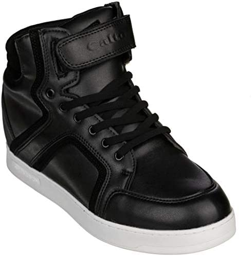 CALTO Men's Invisible Height Increasing Elevator Shoes - Suede Lace-up High-top Fashion Sneakers - 2.8 Inches Taller