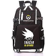 YOURNELO Unisex Leisure Overwatch High Capacity Canvas School Backpack Bookbag