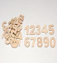 Glorex Números de Madera, 30 Unidades, Naturaleza, 2.5 x 1.5 x 1 cm