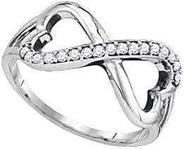 10kt White Gold Womens Round Diamond Infinity Double Heart Ring 1/6 Cttw