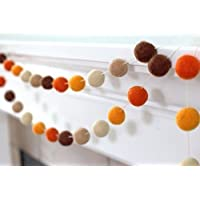 Felt Ball Garland- Brown & Orange- Fall Autumn Halloween Thanksgiving