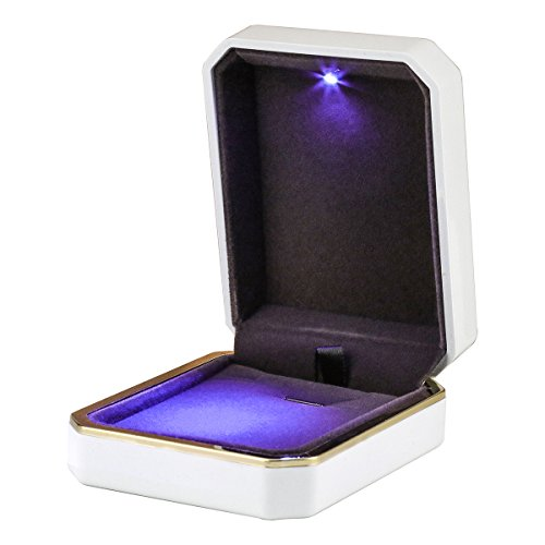 LED Jewelry Gift Box Case Elegant Velvet Necklace Pendant Box Bracelet Box with LED Light for Jewelry Display Wedding Engagment Valentine's Day Black Size:2.75