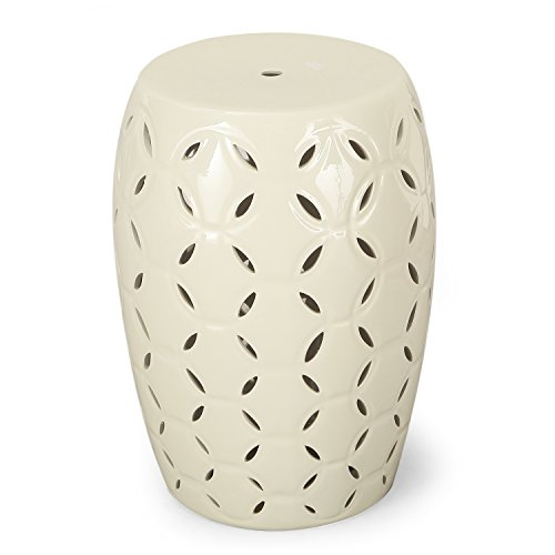 Adeco Indoor Outdoor Garden Ceramic Stool Accent Table (White) (Outdoor Ceramic Stools)